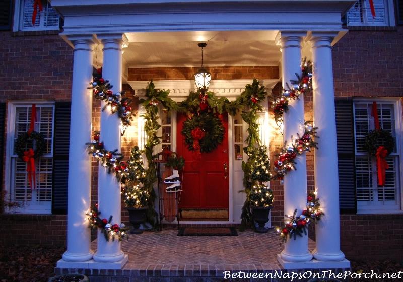 Christmas Porch, Magnolia Wreath, Magnolia Garland, Sled, Ice Skates, Lit Garland