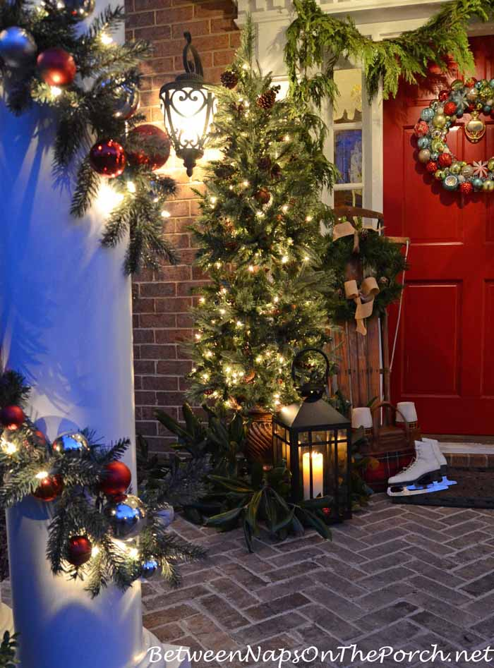 Christmas Porch with Sled, Lantern, Lit Trees and Garland