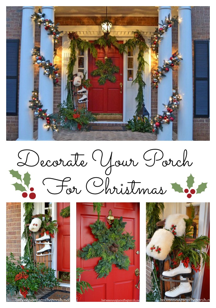 Christmas Porch with Snowflake Wreath, Sled, Ice Skates and Cedar Garland