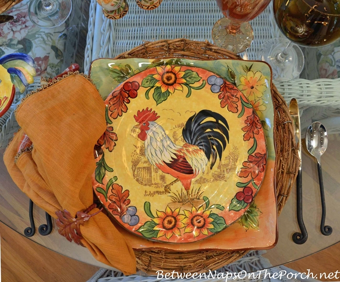Fall Rooster Plates by Maxcera