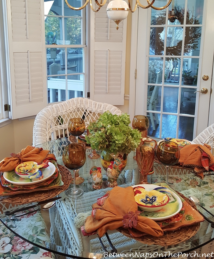 Fall Table Setting with Limelight Hydrangea Centerpiece