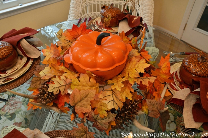 Fall Table Setting with Martha Stewart Cast Iron Pumpkin Casserole