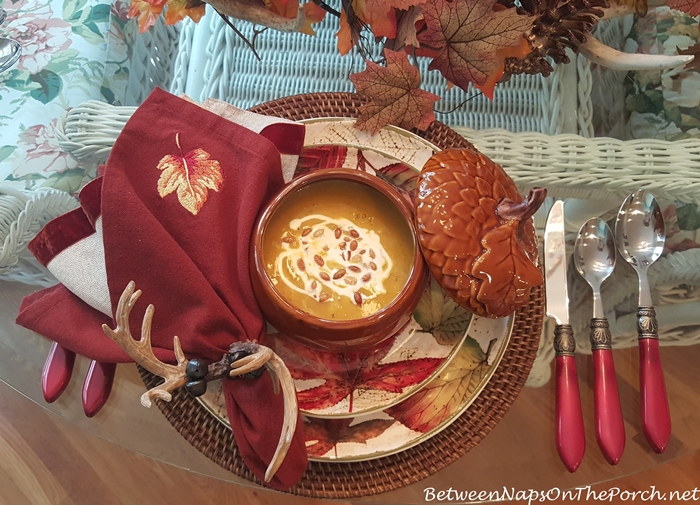Fall Table Setting with Pier 1 Ashevile Dishware Acorn Soup Tureens