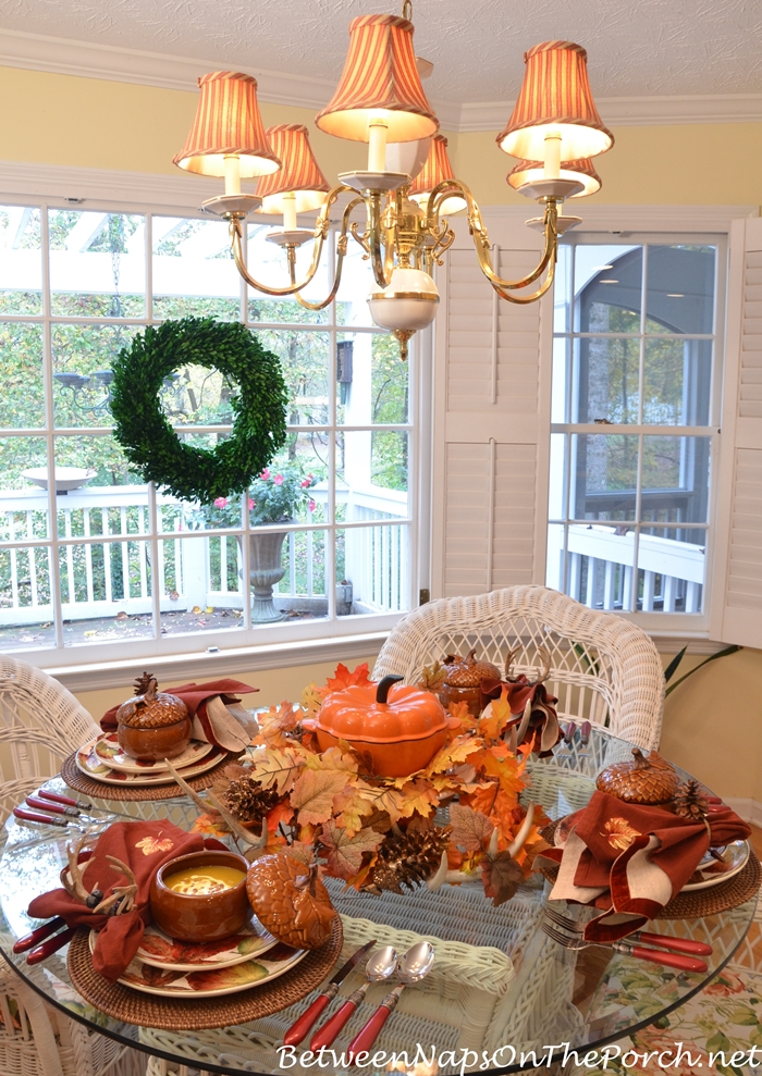 Fall Table Setting with Pier 1 Ashevile Dishware & Martha Stewart Cast Iron Pumpkin Casserole