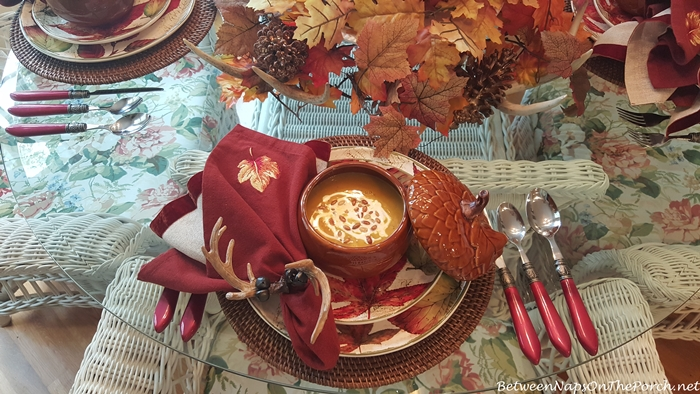 Fall Table Setting with Roasted Pumpkin Soup