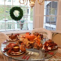 Fall Tablescape with Pier 1 Ashevile Dishware & Martha Stewart Cast Iron Pumpkin Casserole