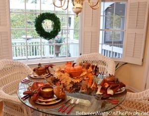 Fall Tablescape with Pier 1 Ashevile Dishware & Martha Stewart Cast Iron Pumpkin Casserole