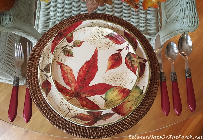Pier 1 Ashevile Leaf Dishware in Fall Table Setting