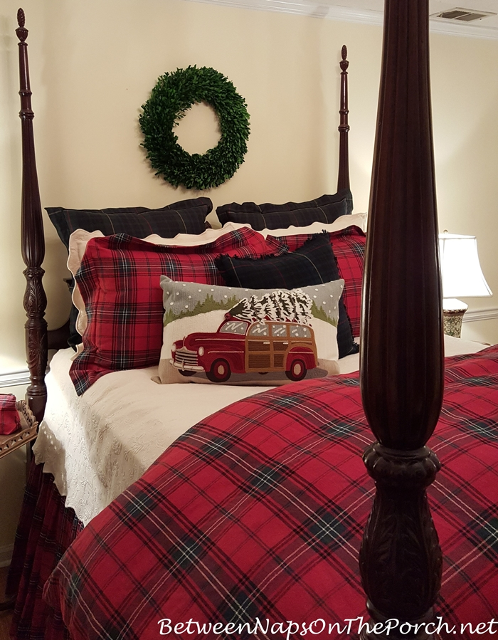 Preserved Boxwood Wreath Hanging Over Bed_wm