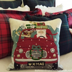 Road Trip Santa Christmas Pillow_wm
