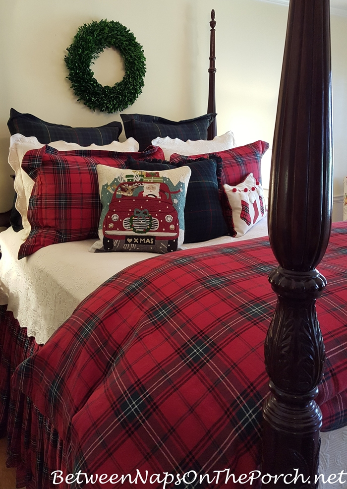 Road Trip Santa Pillow and Tartan Bedding