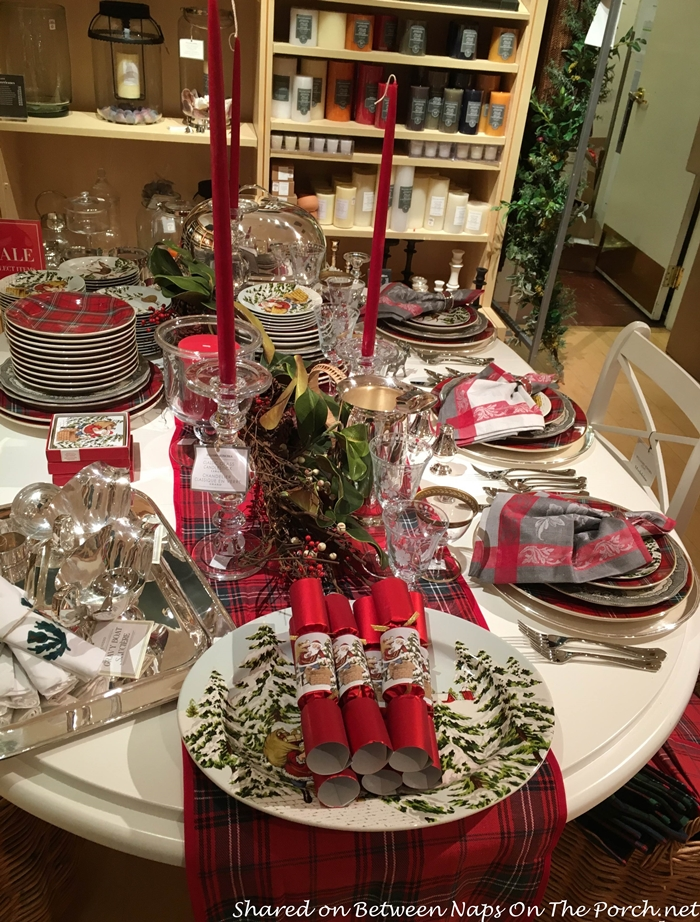 Tartan Runner and Christmas Crackers at Williams Sonoma