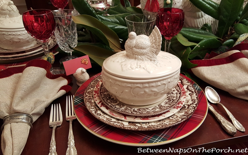 Thanksgiving Table Setting with Turkey Tureen