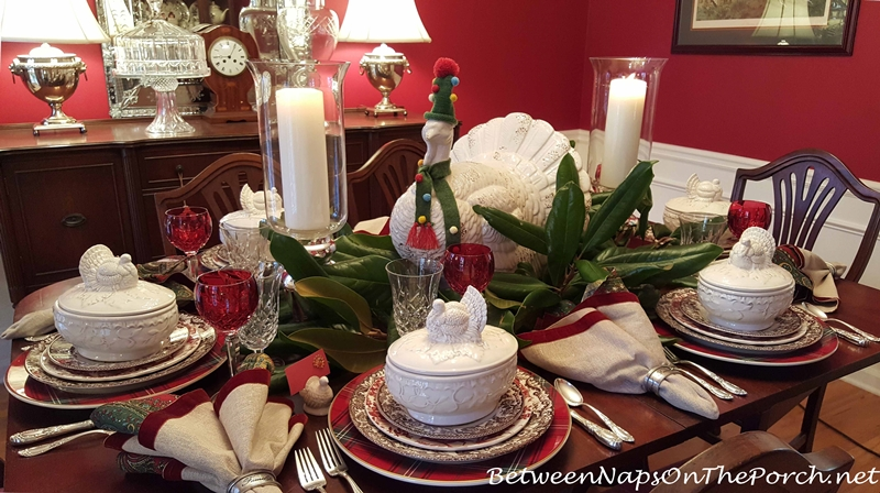 Thanksgiving Table With Whimsical Turkey Centerpiece_wm