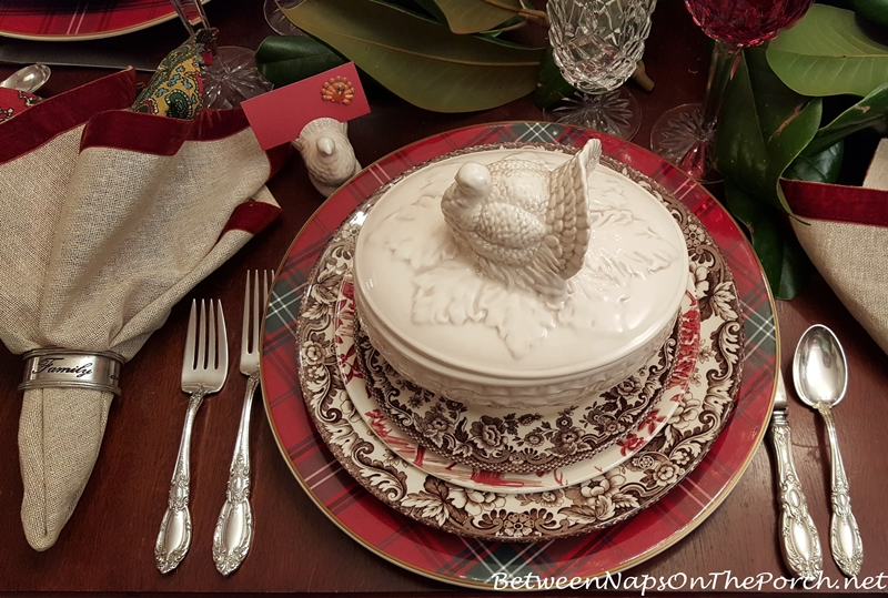 Thanksgiving Tablescape with Spode Woodland and Alpine Toile Plates