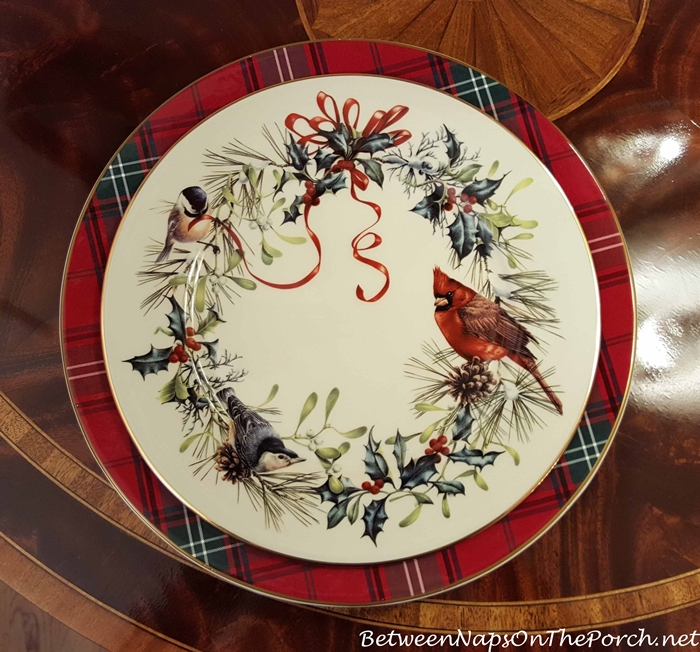 Williams-Sonoma Tartan Plaid Charger & Lenox Winter Greetings Dinner Plate