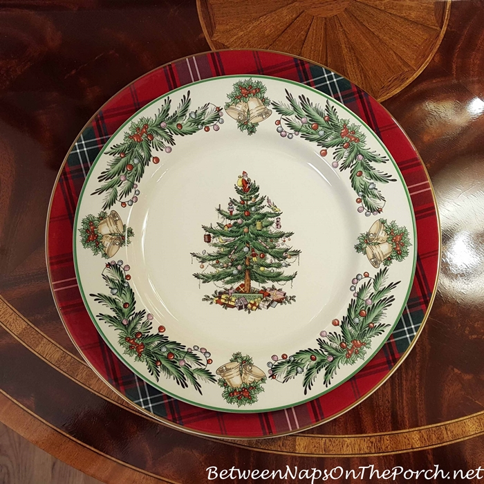 Williams-Sonoma Tartan Plaid Charger & Spode Christmas Tree Dinner Plate