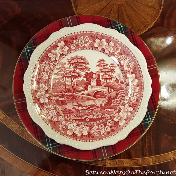 Williams-Sonoma Tartan Plaid Charger & Spode Tower Dinner Plate