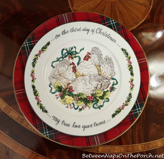 Williams-Sonoma Tartan Plaid Charger & Valerie Parr Hill 12 Days of Christmas Plate