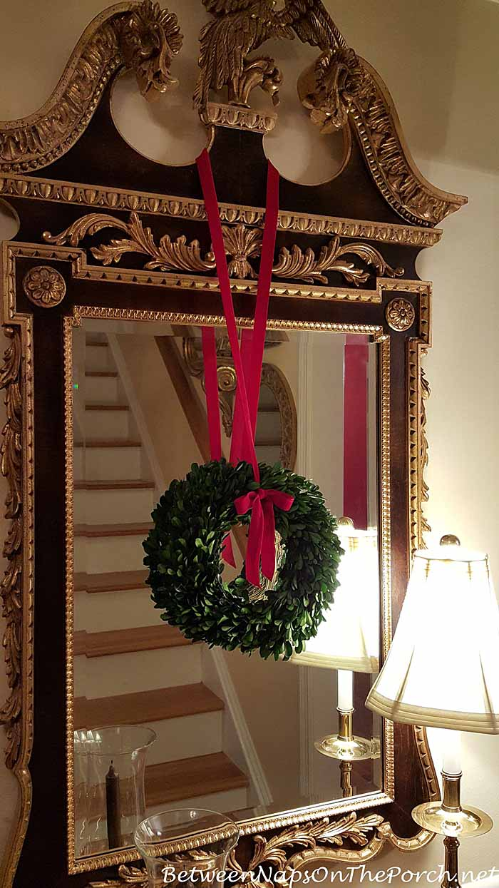 Wreath Hanging on Mirror