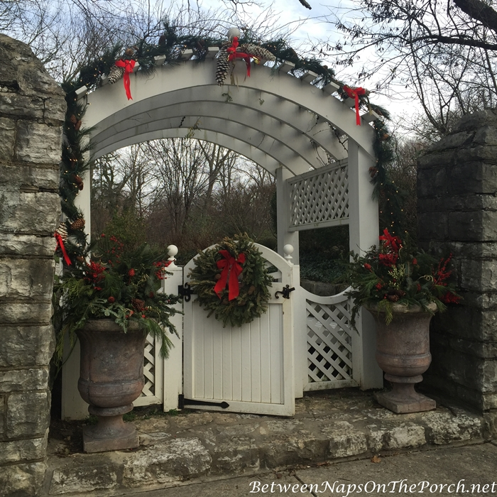 Arbor and Gate Decorated for Christmas