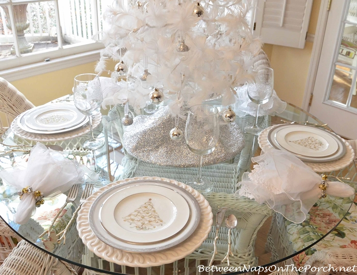 Christmas Table, Noritake Silver Palace and Crestwood Platinum Dishware