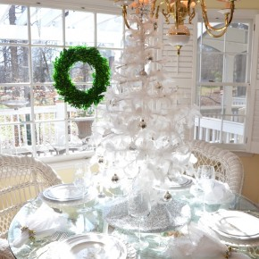 Christmas Table Setting in White with Feather Tree Centerpiece