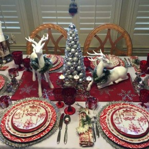 Christmas Table Setting with Bon Jour Yuletide Dinnerware and Deer Centerpiece