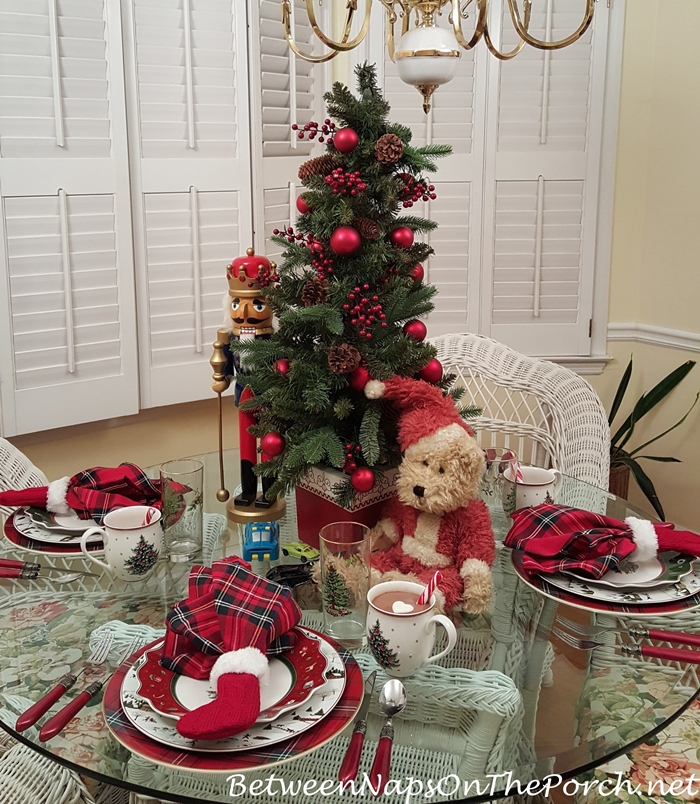Christmas Tablescape with Toys & Christmas Tree Centerpiece