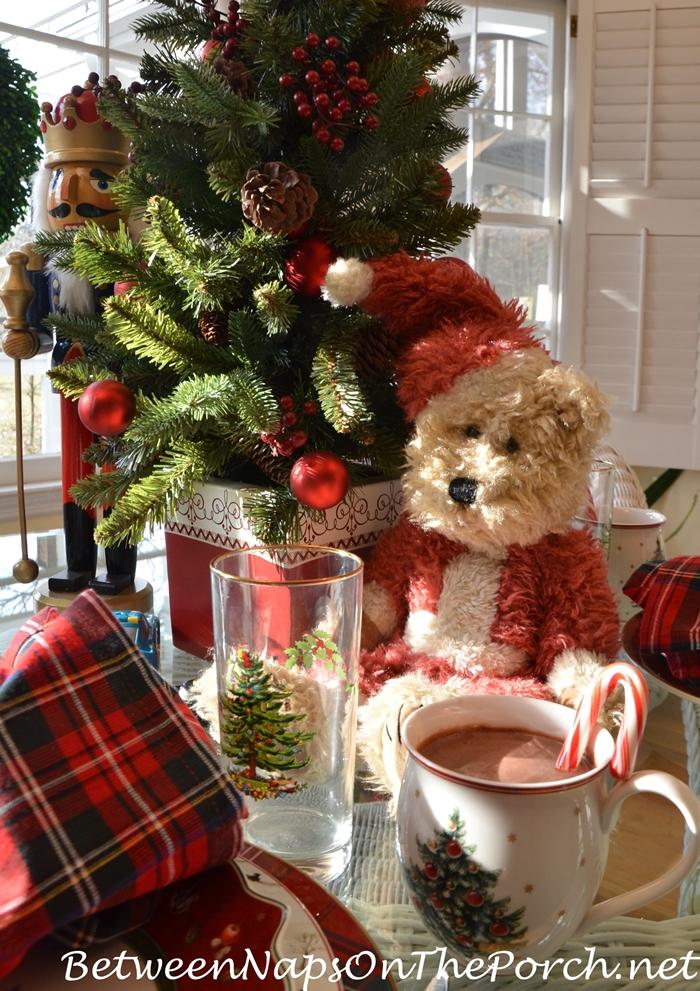 Christmas Tablescape with Toys and Teddy Bear Centerpiece