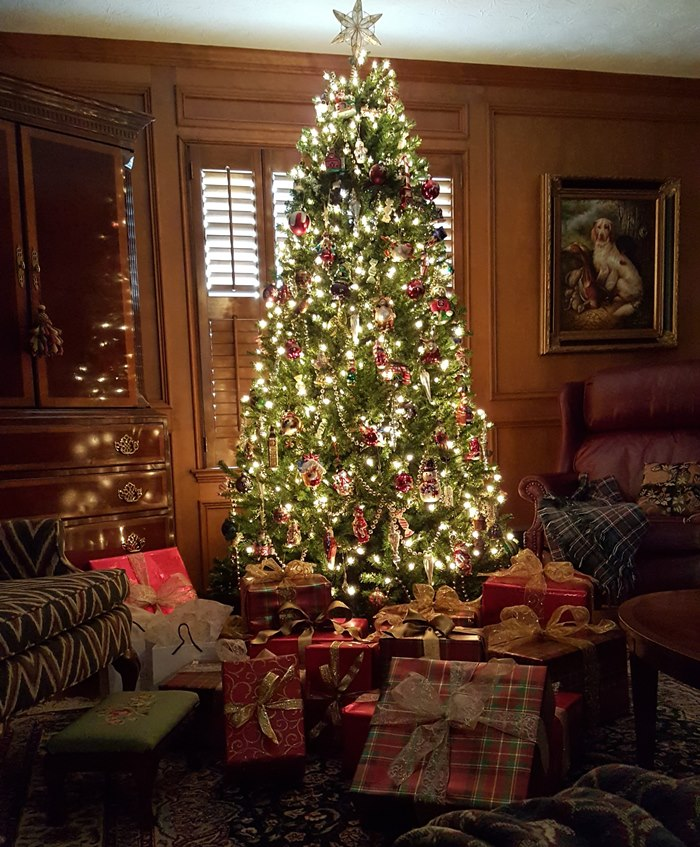 Christmas Tree and Presents lit by lights of tree