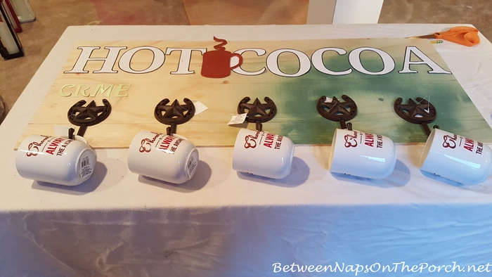 Deciding which mug hooks to use on Hot Cocoa Sign