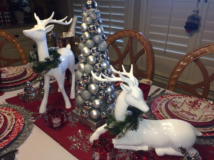 Deer Centerpiece for Christmas Table Setting