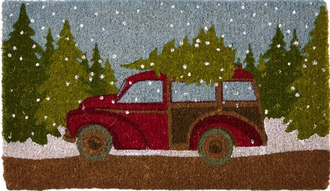 Holiday Christmas Woody Door Mat