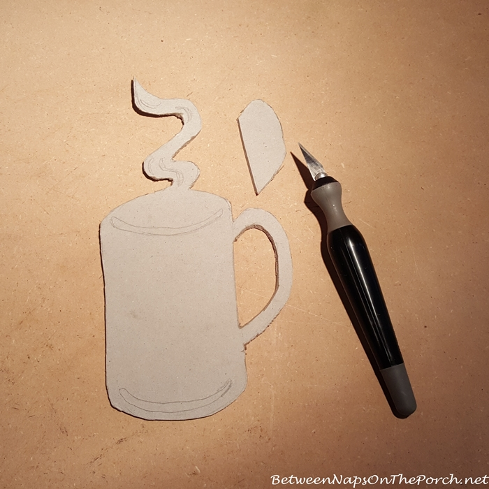 Mug for Hot Cocoa Bar Cut From Heavy Cardboard