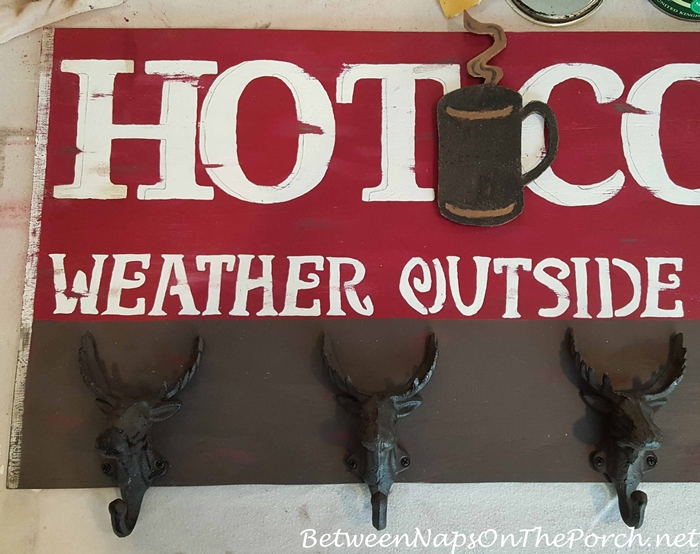 Painting a border on Hot Cocoa Sign