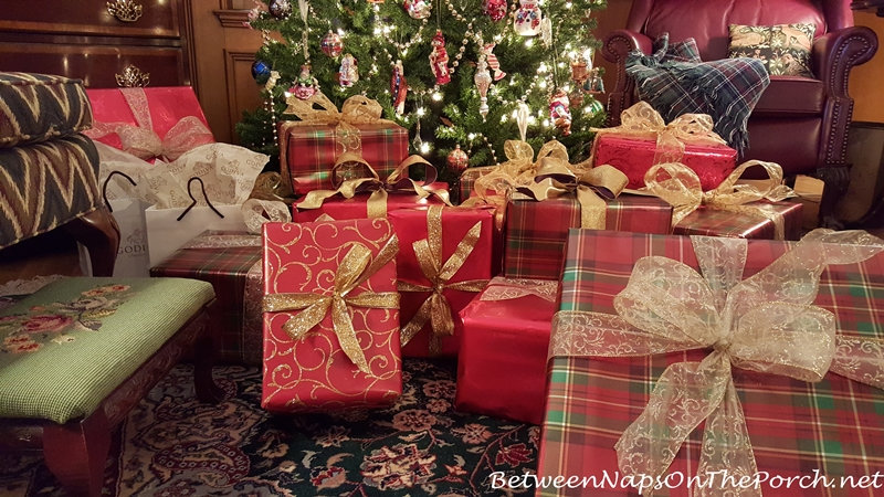 Plaid Christmas Paper with Gold Ribbons and Bows