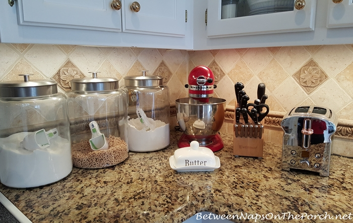 Red Kitchenaid Mixer and Red Plaid Accessories