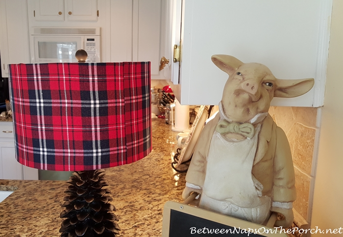Red Plaid Lamp in Kitchen