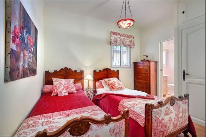 Red Toile Bedroom in Julia Child's French Cottage