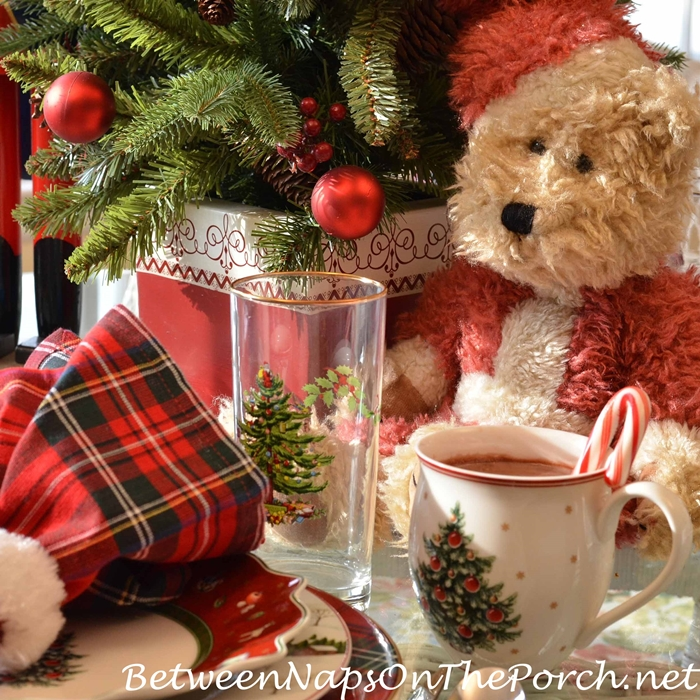 Teddy Bear & Toy Centerpiece in Christmas Tablescape