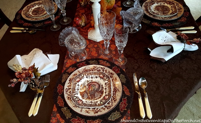 Thanksgiving Table Setting With Johnson Bros His Majesty & Williams Sonoma Plymouth 09