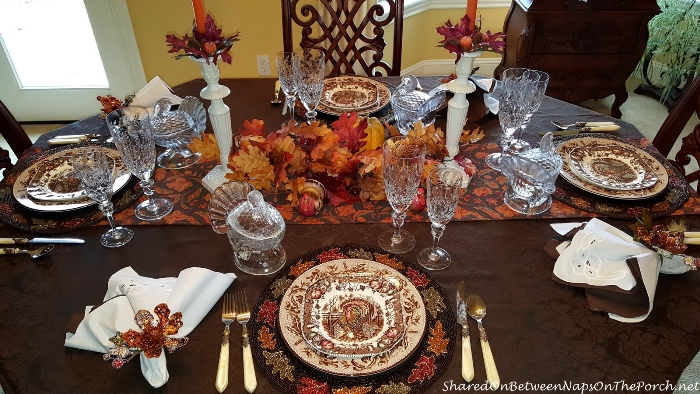 Thanksgiving Table Setting With Johnson Brothers His Majesty & Williams Sonoma Plymouth Oak by Wedgwood