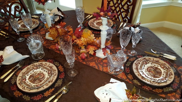 Thanksgiving Table Setting With Johnson Brothers His Majesty & Williams Sonoma Plymouth Oak