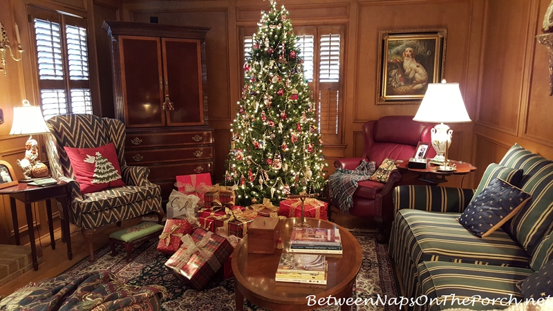 Traditional Christmas Decor in Red and Green Living Room with Judges Paneling