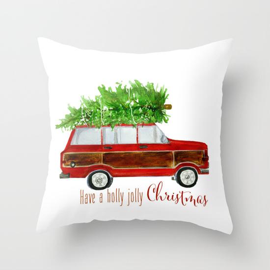 Wagoneer with Christmas Tree Pillow