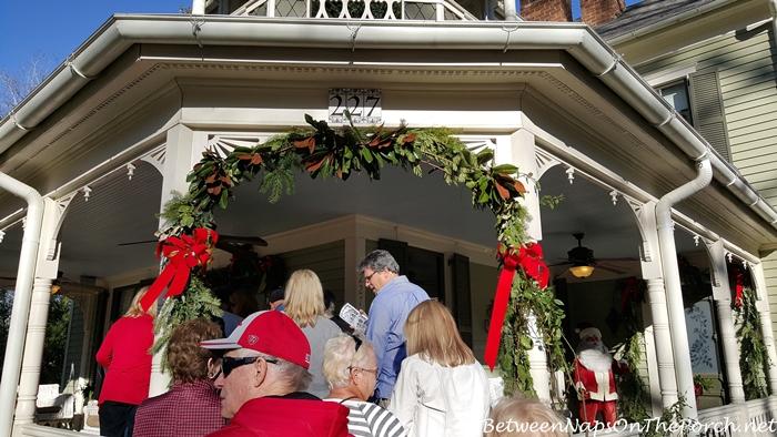 Magnolia Garland for Front Porch Entrance