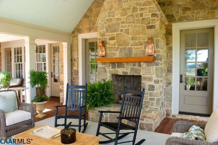 Porch with Fireplace, The Fox Hill, Southern Living Plan