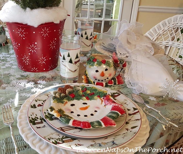 Snowman Plates for a Winter Table