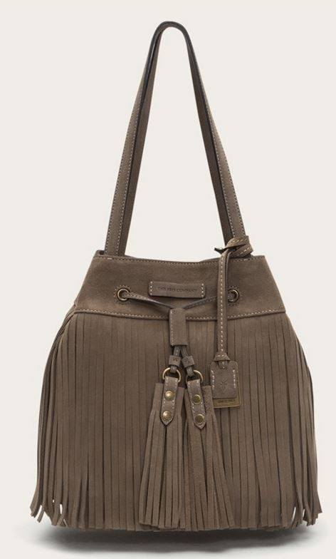 Suede Frye Fringe Bag in Grey